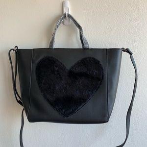 NWT Faux Leather Black Crossbody Heart Bag
